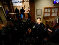 New interim county sheriff Marian Brown takes questions from the media after being appointed at the Dallas County administration building in Dallas on Tuesday.(Nathan Hunsinger/Staff Photographer)