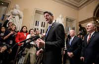 Speaker of the House Paul Ryan, R-Wisconsin (joined at right by, House Ways and Means Committee Chairman Kevin Brady, R-Texas, and House Majority Whip Steve Scalise, R-Louisiana) speaks in the House of Representative on Capitol Hill on Tuesday.(J. Scott Applewhite/AP)