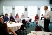 "Texas Attorney General Ken Paxton told a federal judge this week that the state is rapidly improving foster care, with investments in a new ""community based care"" approach to procurement that formerly was called foster care redesign. In the Fort Worth area, it's involved intensive recruitment of foster parents, through community meeting such as this one at the Holiday Hills Country Club in Mineral Wells in August 2016. But the approach has yet to be tried in another region besides Tarrant and six nearby counties. (Nathan Hunsinger/The Dallas Morning News)"