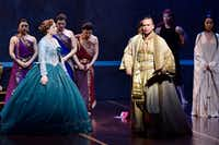Anna Leonowens (Laura Michelle Kelly), left, and King of Siam (Jose Llana), in the national tour of the Lincoln Center Theater production of Rodgers & Hammerstein's <i>The King and I</i>, directed by Bartlett Sher, part of the AT&T Performing Arts Center Broadway Series, at the Winspear Opera House in downtown Dallas. (Ben Torres/Special Contributor)