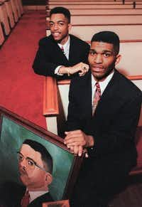 The Reverend S.M. Wright II(L), pastor, and the Rev. Calvin Wright, co-pastor, in the  Sanctuary of People's Missionary Baptist Church in South Dallas in 1995.  Their father, the Rev. S.M. Wright (portrayed in painting), died in 1994.