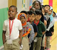 Kim Hakiza leads the line of Adrian Rivera's kindergarten class as they wait in the hallway at Dallas ISD's McShan Elementary in Vickery Meadow.(Louis DeLuca/Staff Photographer)
