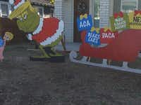 This politically themed Christmas decoration that portrays President Trump as the Grinch has drawn plenty of attention in an Austin neighborhood.(KVUE-TV)