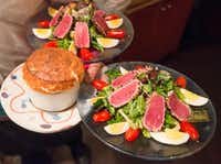 A soufflé and salads enroute to diners at the Inwood Village restaurant Rise Soufflé Salon in Dallas, Texas on December 20, 2017. (Robert W. Hart/Special Contributor)(Robert W. Hart/Special Contributor)