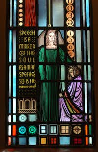 "<p><span style=""font-size: 1em; background-color: transparent;"">A detail of a stained-glass window at Texas Woman's University's Little Chapel-in-the-Woods. File Photo/Denton Record-Chronicle</span></p>(Al Key)"