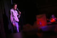 Local comedian Grady Pruitt performs at The Secret Group in Houston on Dec. 13, 2017. Many Houston comedians, including Grady, have come up with Hurricane Harvey-related jokes.(Rose Baca/Staff Photographer)