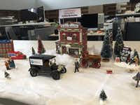 The Watchdog's 2017 newspaper Christmas Village in The Dallas Morning News newsroom.