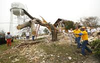 Members of the Texas Baptist Men, including Thomas Little (right) pull down a cut branch from what was a 55 ft. Bois-d'Arc tree on Mariner Dr. in Rowlett, Texas, Friday, January 8, 2016. Volunteer groups cleaned up the tornado ravaged neighborhood after it had been closed because of the damaged water tower. (Tom Fox/Staff Photographer)
