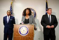 Dallas County District Attorney Faith Johnson announces that former Mesquite Police Officer  Derick Wiley was charged with aggravated assault by a public servant during a press conference at the Frank Crowley Courts Building in Dallas, on Wednesday, December 6, 2017. Mesquite police fired Wiley last week after an internal affairs investigation into the November 8th shooting of 31-year-old Lyndo Jones. Top prosecutor Kevin Brooks (left) and First assistant District Attorney Mike Snipes stand next to Johnson. (Vernon Bryant/Staff Photographer)