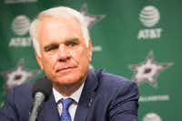 Team president Jim Lites addresses the media as Ken Hitchcock is introduced as the Dallas Stars new coach during a press conference at the American Airlines Center on Thursday, April 13, 2017, in Dallas. (Smiley N. Pool/Staff Photographer)