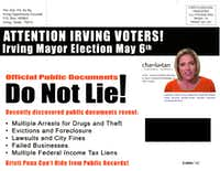 <br>(Former Irving Mayor Herb Gears admitted in a 2017 interview that he was responsible for dishonest mailer targeting former mayoral candidate Kristi Pena.)