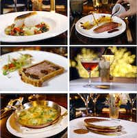 Clockwise from top left: Cabillaud & brandade, Canard a l'orange, a Rob Roy cocktail, Mille feuille, Ravioli d'escargot, and Pâté en croûte.(Tom Fox/Staff Photographer)