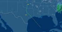 The Cirrus SR22T was travelling from Oklahoma City to Georgetown but veered toward the Gulf of Mexico.(FlightAware)