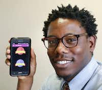 Derek Smith, 30, a caseworker at the International Rescue Committee in Dallas, created a smartphone app to help refugees and all immigrants with practical tools to navigate life in North Texas. The app is called The Collective for Refugees and Immigrants.  (David Woo/Staff Photographer)