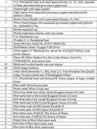 A list of items agents seized from Mauricio Aguirre's Dallas home during a 2013 search.(Krause, Kevin/Federal court file)