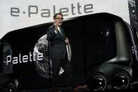 LAS VEGAS, NV - JANUARY 08: President of Toyota Motor Corporation Akio Toyoda speaks in front of the e-Palette Concept Vehicle, at CES 2018 on January 8, in Las Vegas, Nevada. C(Photo by Alex Wong/Getty Images(Alex Wong/Getty Images)