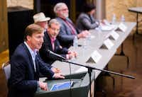 Gubernatorial candidate Andrew White, left, speaks during a democratic gubernatorial candidate forum hosted by Tom Green County Democratic Club on Monday, January 8, 2018 at the San Angelo Museum of Fine Arts in San Angelo, Texas. Each candidate was allowed five minutes to speak. (Ashley Landis/Staff Photographer)