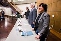 Gubernatorial candidate Lupe Valdez, right, and other candidates are introduced before a democratic gubernatorial candidate forum hosted by Tom Green County Democratic Club on Monday, January 8, 2018 at the San Angelo Museum of Fine Arts in San Angelo.(Ashley Landis/Staff Photographer)