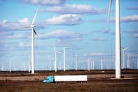 <p>Turbines are spread across a wind farm in Colorado City in West Texas.</p>(Spencer Platt/Getty Images)