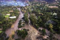 This photo provided by Ventura County Sheriff's Office shows an arial view of Montecito, Calif., with mudflow and debris due to heavy rains on Tuesday, Jan. 9, 2018.(Ventura County Sheriff's Office/via AP)
