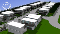 This architectural rendering shows what The Cotton Groves will look like. The 35-unit affordable housing development will be built from shipping containers by the North Collin County Habitat for Humanity.(North Collin County Habitat for Humanity)
