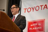 Akio Toyoda, Toyota Motor Corp. president, speaks during a press conference, Wednesday, Jan. 10, 2018, in Montgomery, Ala., where Japanese automakers Toyota and Mazda announced plans to build a huge $1.6 billion joint-venture plant in Huntsville. Several states had competed for the coveted project.(Albert Cesare/AP)