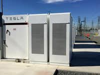 California regulators want Pacific Gas and Electric Co. to replace natural gas facilities with an energy storage system such as this Tesla battery bank in Ontario. The bank was installed in three months.(Ivan Penn/Tribune News Service)