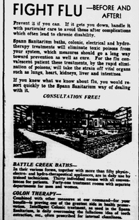 1932: Dallas' Spann Sanitarium offered a wide array of flu-fighting techniques, including colonic irrigation.