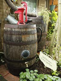 Rain barrels with a working pump in a Carrollton garden.(Vernon Bryant/Staff Photographer)