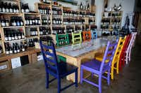 Interior of Le Caveau Vinotheque in Dallas.(Rose Baca/Staff Photographer)