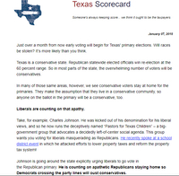 In a Jan. 7 email blast, Empower Texans president and chief executive Michael Quinn Sullivan depicted Fort Worth minister Charlie Johnson as a trickster trying to entice Democrats to cross over and defeat staunch conservatives in GOP legislative primaries.