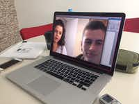 Jose Dresser Gutierrez Giraldo, a 22-year-old from Colombia, in a January 2018 Skype interview with Watchdog producer Marina Trahan Martinez. They spoke in both English and Spanish. She also interviewed his mother.(Dave Lieber)