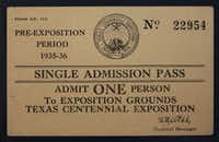 An admission ticket to the Texas Centennial Exposition in 1936.(Rose Baca/Staff Photographer)