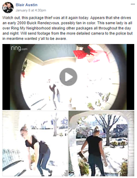 Blair Austin was one of several Lakewood residents who caught a package theft on camera with his Ring doorbell camera.