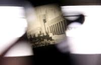 A photo of the Hall of State as seen through a vintage viewfinder.(Rose Baca/Staff Photographer)