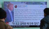 "<p>South Koreans watch a new report at Seoul Railway Station on Jan. 3, 2018, after President Donald Trump boasted that he has a bigger and more powerful ""nuclear button"" than North Korean leader Kim Jong Un. The letters on the screen read: ""More powerful nuclear button.""</p>(Ahn Young-joon/AP)"