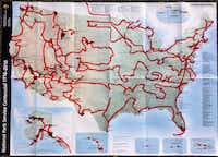 Meyer's planned three-year route to visit all 417 National Park Service sites.  As he passed through Dallas this week, he was two-thirds of the way through his trip.<br>(Picasa/Mikah Meyer<br>)