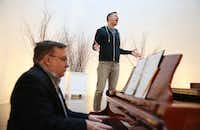 Mikah Meyer rehearses his cabaret performance with pianist Les Holben at Cathedral of Hope church in Dallas on Friday, Jan. 12, 2018. Meyer quit jobs as a singer for the National Cathedral in Washington, D.C., and as a boarding school administrator in his quest to become the youngest person ever to visit all 417 U.S. National Parks sites. (Rose Baca/Staff Photographer)