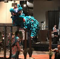 A lion dance was part of the AREAA Charity Gala on Saturday.(Deborah Fleck/Staff)