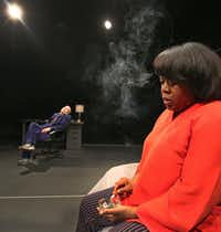 Stormi Demerson as Hillary talks with Barry Nash as Bill Clinton in the area premiere of <i>Hillary and Clinton</i> at Second Thought Theatre in Dallas.(Louis DeLuca/Staff Photographer)