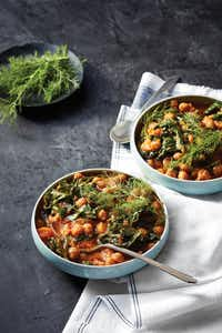 Moroccan Chickpeas and Kale from <i>Dinner in an Instant</i>by Melissa Clark.(Christopher Testani/Clarkson Potter/Publishers)