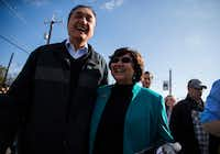 Former San Antonio Mayor Henry Cisneros and  gubernatorial candidate and former Dallas County Sheriff Lupe Valdez marched in the Martin Luther King Jr. Day March on Monday in San Antonio. Valdez grew up in San Antonio. (Ashley Landis/Staff Photographer)