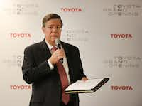 Toyota CEO Jim Lentz talks with the media at the grand opening of the Toyota headquarters in Plano, Texas, photographed on Thursday, July 6, 2017. (Louis DeLuca/Staff Photographer)