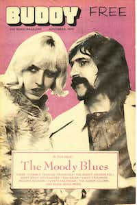 Cope on the cover of <i>Buddy </i>with a member of the Moody Blues, who, the story goes, gave her the nickname Butter Queen(Courtesy Kirby Warnock)