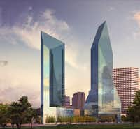 Chicago-developer Amli Residential is building the tallest tower in downtown Dallas in almost three decades. The 45-story apartment high-rise will go up next to the rocket-shaped Fountain Place skyscraper on downtown's north side.(Amli Residential)