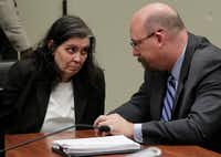 Louise Anna Turpin, left, appeared in court with her attorney Jeff Moore in Riverside, Calif., on Thursday. (Gina Ferazzi/AP)