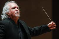 Guest conductor Donald Runnicles leads the Dallas Symphony Orchestra through Beethoven Overture to Fidelio, Op. 72 Thursday.(Ron Baselice/Staff Photographer)
