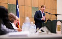 Gubernatorial candidate Andrew White speaks during a Democratic gubernatorial candidate forum hosted by Tom Green County Democratic Club on Monday, Jan. 8, 2018, at the San Angelo Museum of Fine Arts. Each candidate was allowed five minutes to speak.(Ashley Landis/Staff Photographer)