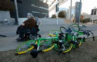 Melody Townsel  maneuvers her wheelchair past knocked-over rental bikes near the school in Dallas. She said she often finds bikes to be problematic.(David Woo/Staff Photographer)