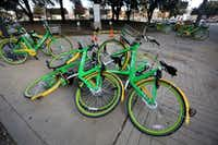 Rental bikes were piled on the corner of Live Oak and Olive streets in downtown Dallas on Jan. 4.(Rose Baca/Staff Photographer)